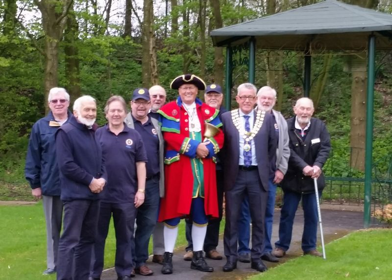 The attached photo shows a group of Rotarians with Biddulph Town Mayor, Chris Wood, at the 'dedication' of the new Gazebo.