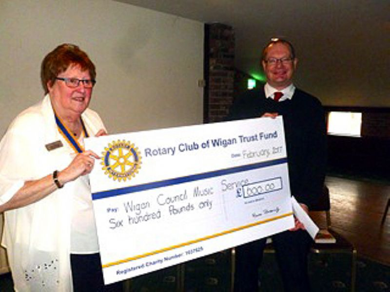 Left to right: President Maureen Bilsbrough with Dave Little displaying the cheque for £600
