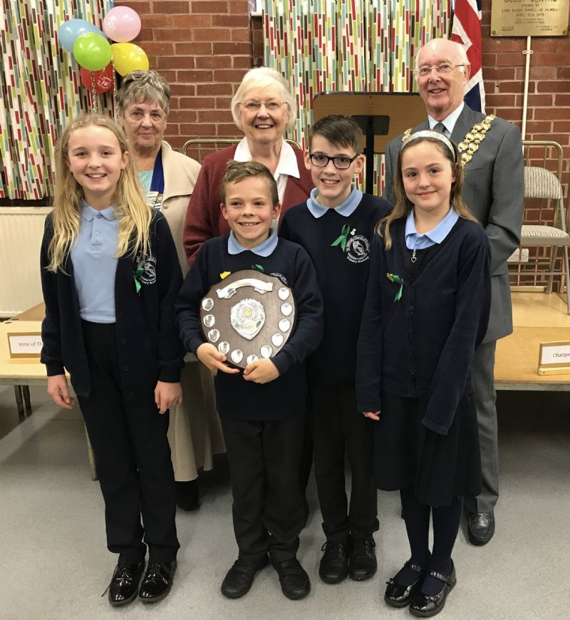 Winning team St. Wilreds Accademy PS With Mrs. Doreen Hoddinott and the Mayor Cllr. Bill Clarke, from left to right Speaker Annika, Chair Alex,V o T Kieran and Reserve Grace.