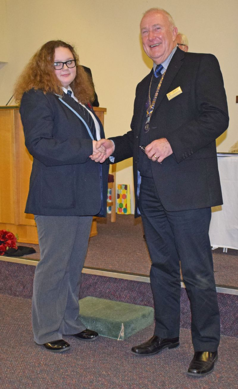 The Prize Winner for the best individual performance was Emily Sanderson from Biddulph High School, who spoke about Body Image', with Rotary President, Martin Gravestock.