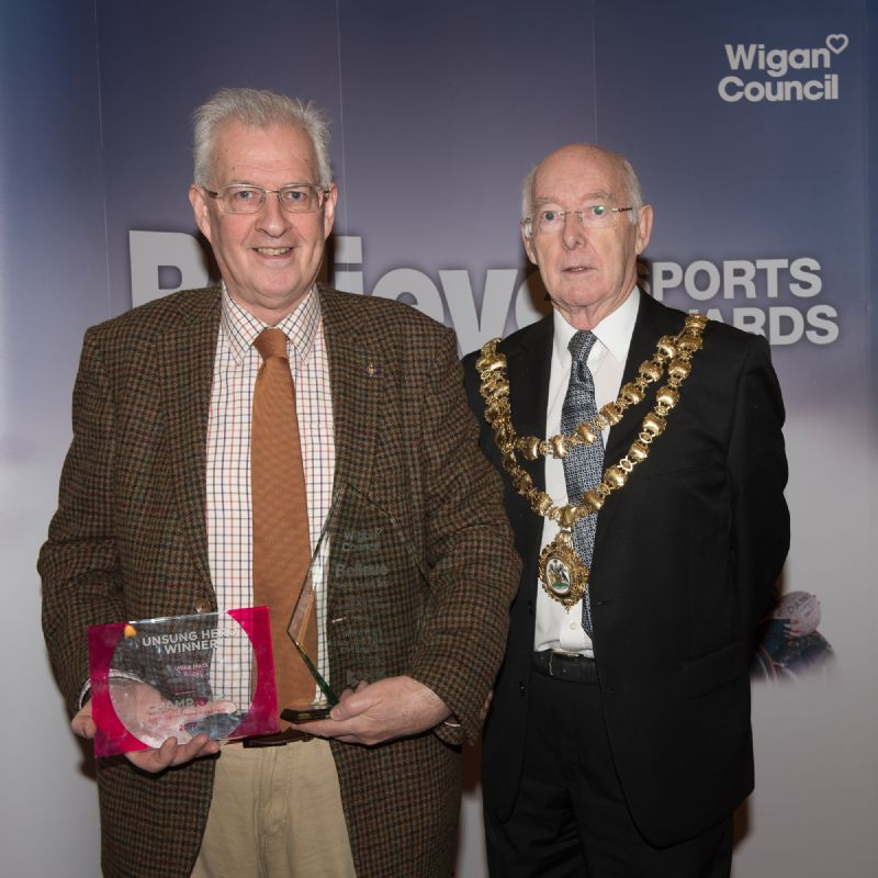 Photo of the award, presented by the Mayor of Wigan, Cllr Bill Clarke, at a reception in the Mayor's Parlour. Bill is a past President of the Rotary Club of Ashton in Makerfield.