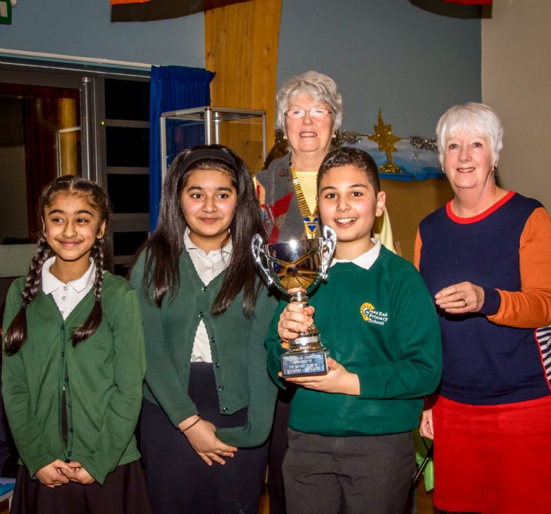 The winning team from Green End Primary with a president Linda Mullins and one of the judges